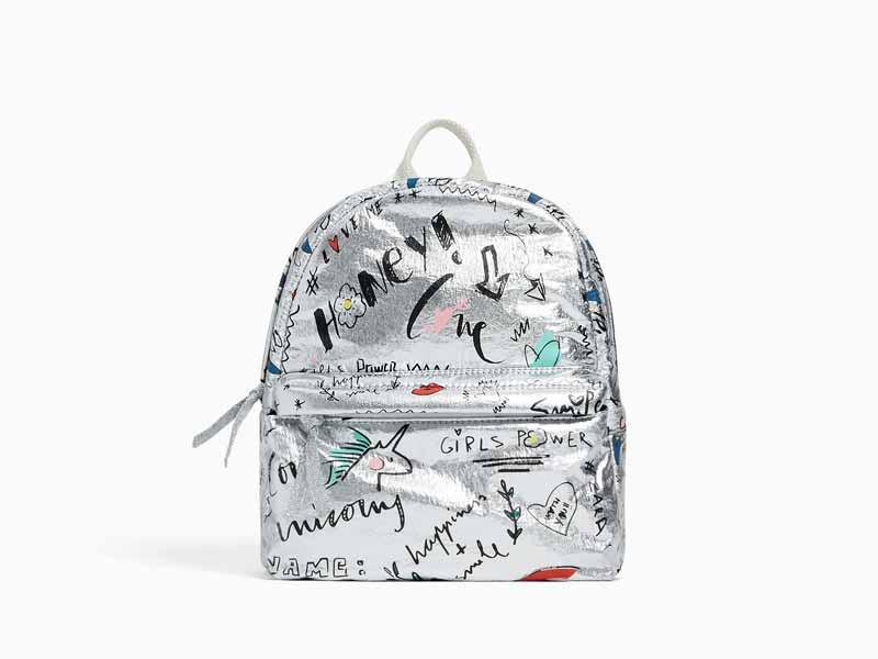 319a8195775e4 حقيبة فضية اللون، من زارا للأطفال في مول الإمارات ومراكز سيتي سنتر للتسوق