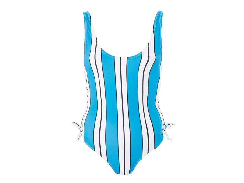 Blue printed swimsuit by Topshop, available at Mall of the Emirates and Majid Al Futtaim City Centres