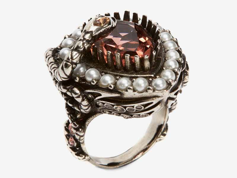 Ruby-red jewel and pearl encrusted cocktail ring