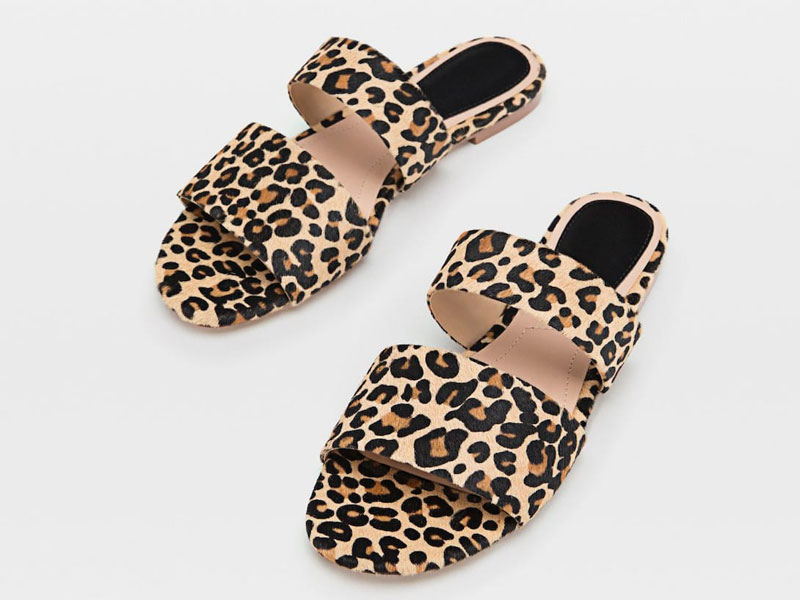 Leopard print sandals by Stradivarius, available at Mall of the Emirates and Mall of Egypt, plus City Centres