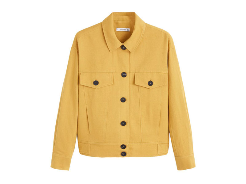 Yellow linen jacket by Mango, available at Mall of the Emirates and City Centres