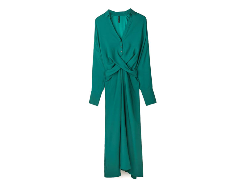 Green dress by Stradivarius, visit Mall of the Emirates and Mall of Egypt, plus City Centres