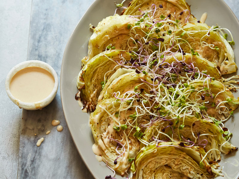 Roasted cabbage with lemon and tahini sauce