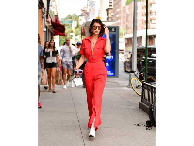 Bella Hadid rocks a red jumpsuit